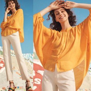 Anthropologie Maeve Brenna Gold Button-Up Blouse